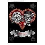 Te amo las tarjetas del cráneo del azúcar - añada
