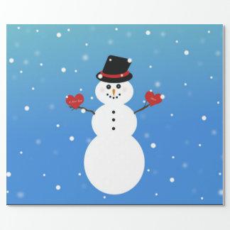 Te amo más muñeco de nieve papel de regalo