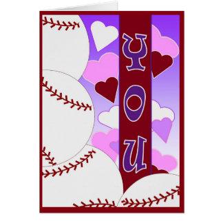 Te amo más que el béisbol - tarjeta del día de San