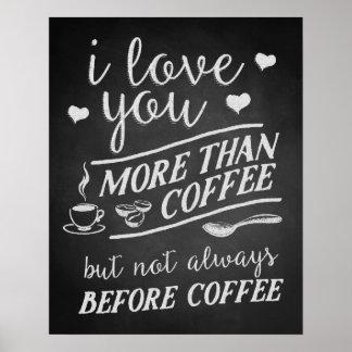 Te amo más que el café pero no antes del café póster