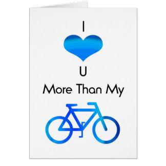 Te amo más que mi bici en azul tarjeta de felicitación