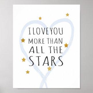 Te amo más que todas las estrellas - impresión del