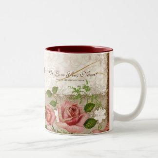 Te amo Nana, taza inglesa de los rosas del vintage