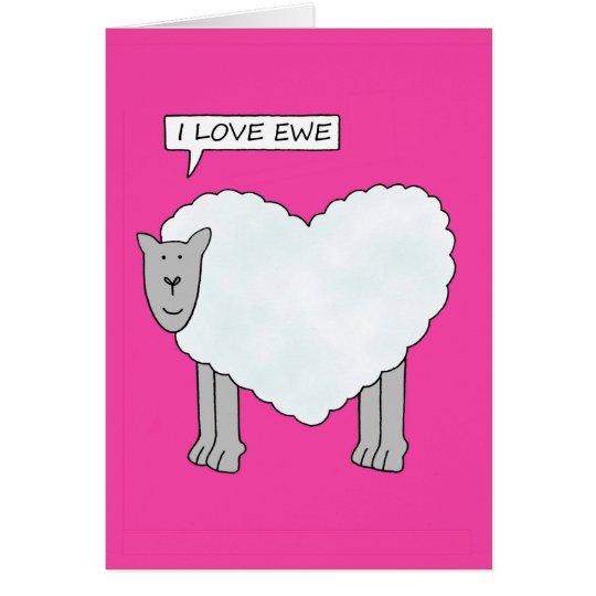 Te amo, ovejas de la tarjeta del día de San