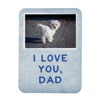 Te amo papá, imán de encargo azul claro de la foto