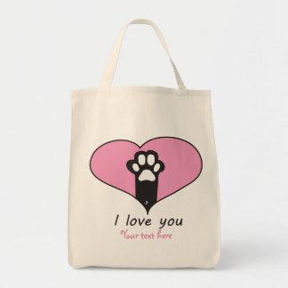 """Te amo"" pata del gato Bolsa Tela Para La Compra"