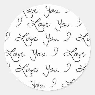 Te amo pegatina, casando al pegatina, presente pegatina redonda