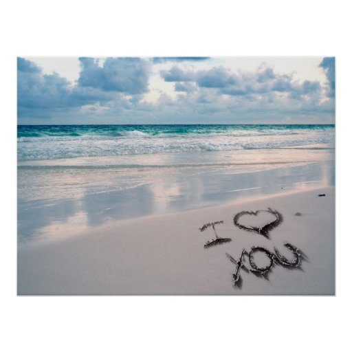 Te amo, puesta del sol de la playa poster