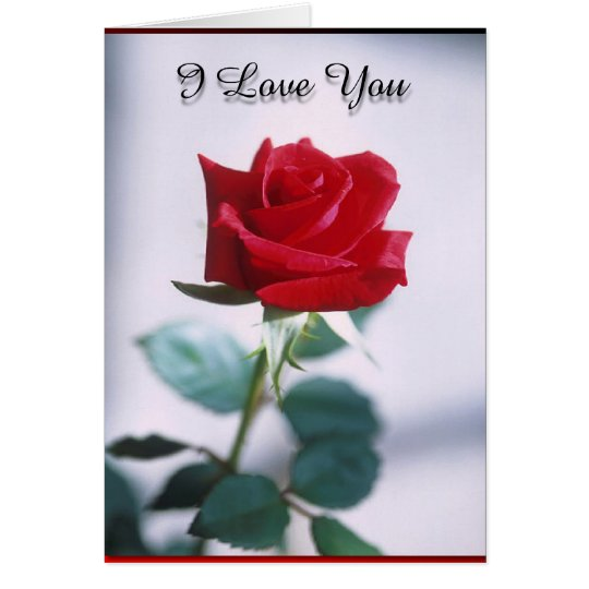 Te amo rosa rojo Tarjeta-En blanco Tarjeta Pequeña