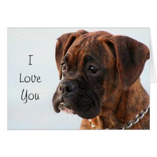 Te amo tarjeta de felicitación del perro del boxea