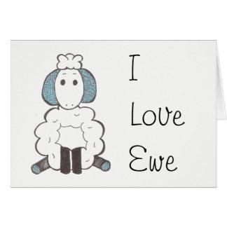 Te amo - tarjeta de la oveja del amor de I