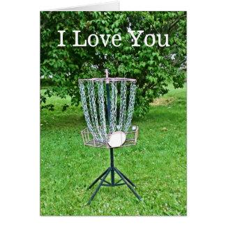 Te amo tarjeta para un golfista del disco