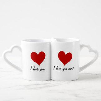 Te amo, te amo más set de tazas de café