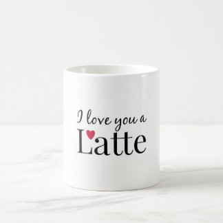 Te amo un latte taza de café