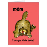 Te amo una tarjeta del gato de la mamá del manojo