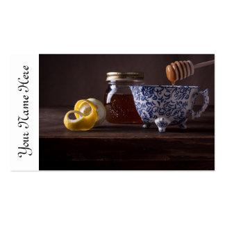 Té con el limón y la miel tarjeta de visita