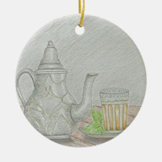 té con la menta adorno de cerámica