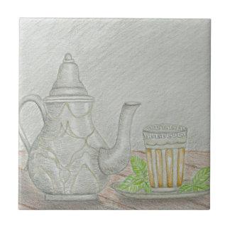 té con la menta azulejo de cerámica