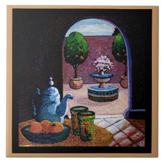 Té de la menta patio marroquí azulejo ceramica