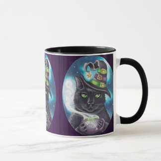 Té de la taza de café del gato negro de la taza