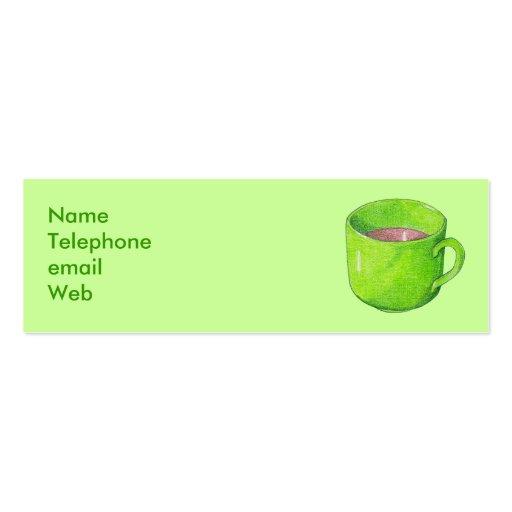 Té en tarjeta verde del perfil tarjetas de visita