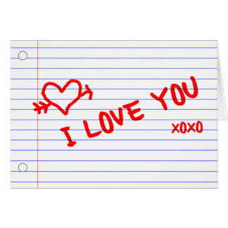 te quiero: papel del cuaderno tarjeta pequeña