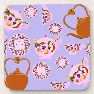 ¡Té! Tetera, taza de té, placa, y tetera C del cob Posavasos