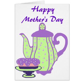 Té y torta, tarjeta feliz del día de madre