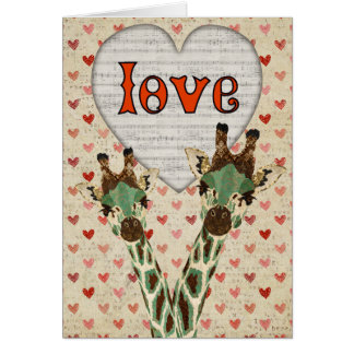 Teal Giraffes Heart Valentine Card