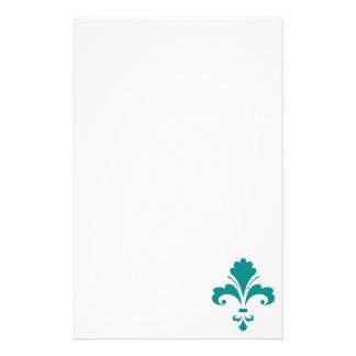 Teal Green Fleur de lis Stationery