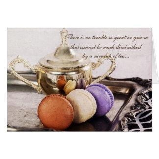 teaservice francés de los macarons con cita tarjeta de felicitación