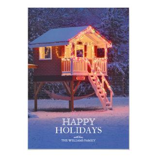 Teatro de Childs con nieve y luces de navidad Invitación 12,7 X 17,8 Cm