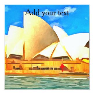 Teatro de la ópera hermoso de Sydney Invitación 13,3 Cm X 13,3cm