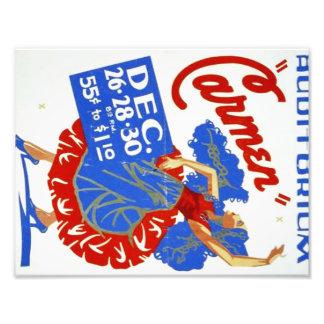 """Teatro musical poster del vintage de """"Carmen"""" WPA Impresión Fotográfica"""