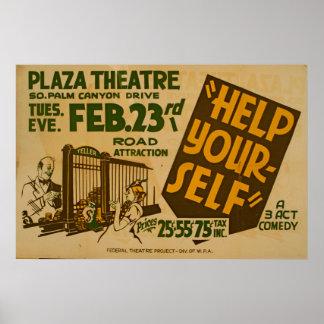 Teatro WPA del vintage del teatro de la plaza de Póster