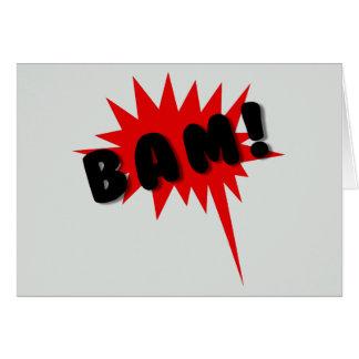 ¡Tebeos retros BAM Texto y explosión rojos y ne Tarjeta