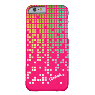 Techno de las rosas fuertes que llueve los pixeles funda de iPhone 6 barely there