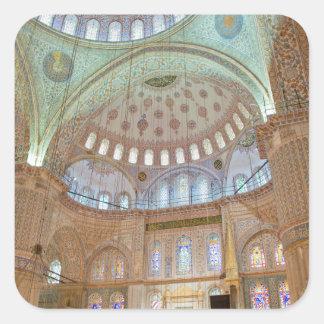 Techo abovedado interior colorido de la mezquita pegatina cuadrada
