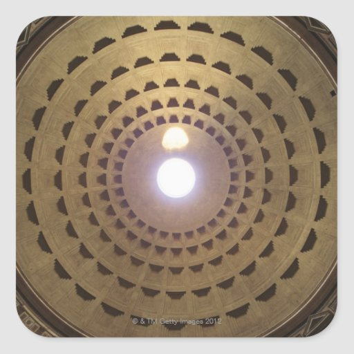 Techo de la bóveda en panteón en Roma, Italia Calcomania Cuadradas Personalizadas