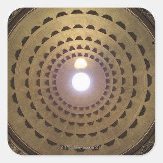 Techo de la bóveda en panteón en Roma, Italia Pegatina Cuadrada