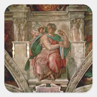 Techo de la capilla de Sistine: El profeta Isaías Pegatina Cuadrada