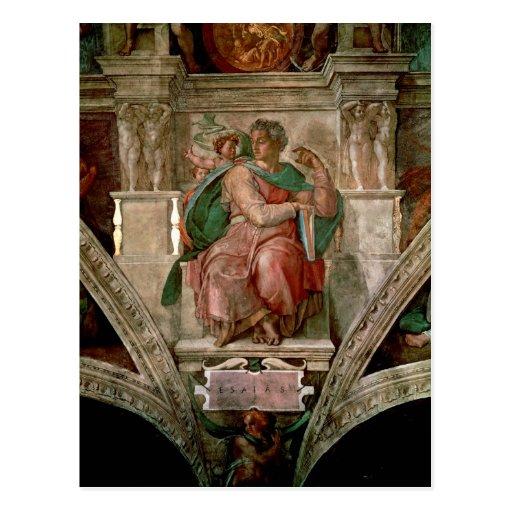 Techo de la capilla de Sistine: El profeta Isaías Tarjeta Postal