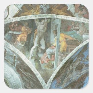 Techo de la capilla de Sistine: Haman Pegatina Cuadrada