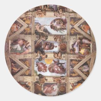 Techo de la capilla de Sistine Pegatinas Redondas