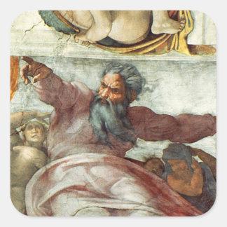 Techo de la capilla de Sistine Colcomanias Cuadradas Personalizadas