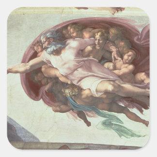 Techo de la capilla de Sistine Pegatina Cuadrada