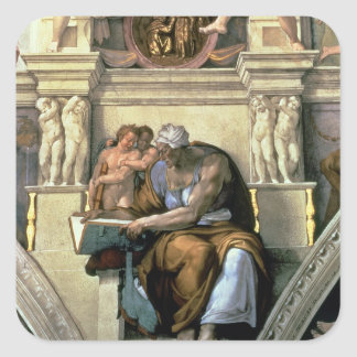Techo de la capilla de Sistine: Sibila de Cumaean, Calcomania Cuadrada Personalizada