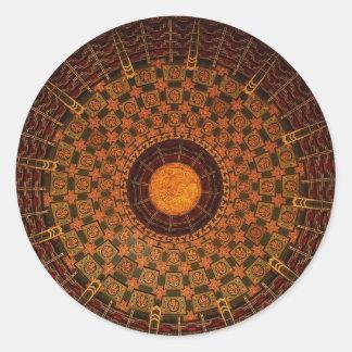 Techo de un templo chino etiquetas redondas