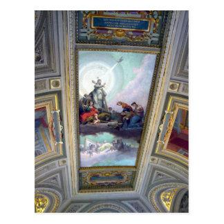 Techo del museo de Vatican en postal de Roma,