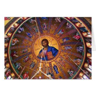 Techo ortodoxo griego - belleza del navidad tarjeta